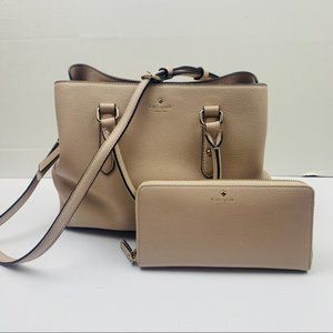Kate Spade Leather Satchel Purse Marching Wallet